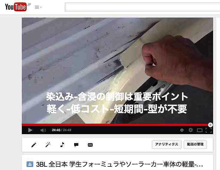 3BL 全日本 学生フォーミュラやソーラーカー車体のの軽量化-軽く安く簡単に製作は、目止めからコーティング方法などの対策ノウハウ開発がポイント