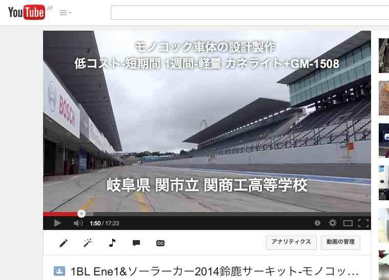 Ene1 GP エネ1 軽量-低コスト-短期間製作・・モノコック車体製作!!! [カネライト+GM-1508]パナソニック・単三充電式電池で国際会場の走行競技 マイナビ Ene1 GP suzuka 2014